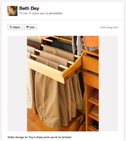 An image of a pant rack with 7 pairs of khahkis. That's 6 too many pairs, for those  keeping track.