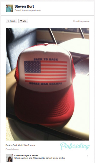 An image of a red trucker hat emblazoned with Back to Back World War Champs, and an Americna flag.