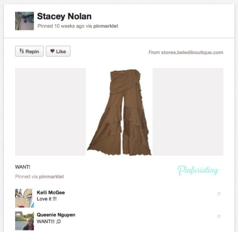 A pair of hideous brown, flared, layered pants pinned on Pinterest.