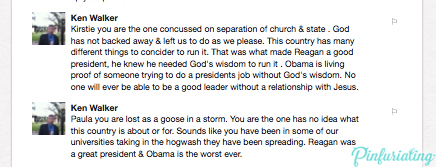 Comments from one Ken Walker on a pin about Ronald Reagan.
