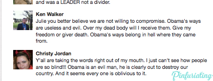 Comments by a man named Ken Walker on a pin about Ronald Reagan.