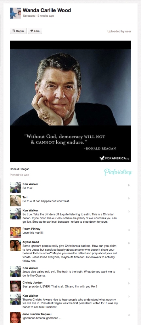 A comment war on a pin about Ronald Reagan.