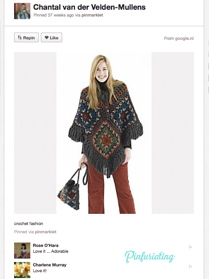 An image of a crochet poncho in fall colours over cordoroy panks.