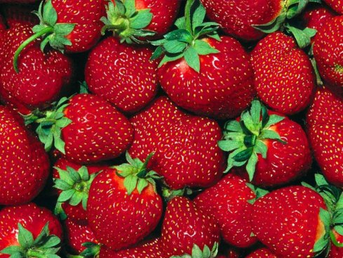 An image of a basket of strawberries, looking delicious.