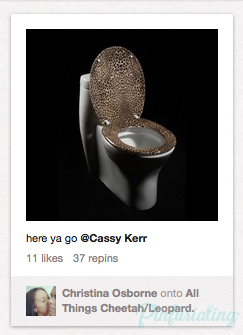 An image of a leopard toilet seta cover, screencap from a pin on Pinterest.