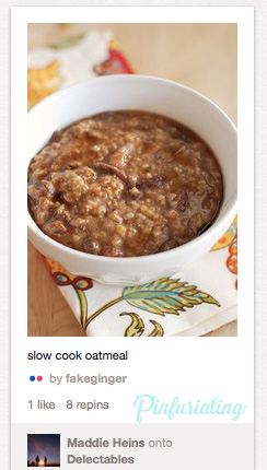 An image of a pin of slow-cooker porridge that looks like a cross between oatmeal and something that would happen after a visit to Taco Bell.