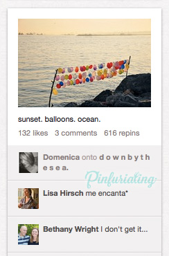 An image of balloons on a clothesline by the sea.