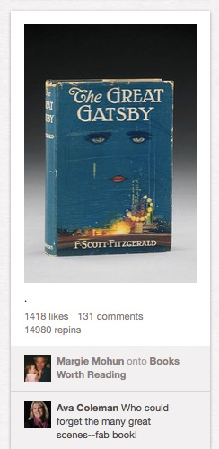 An image of the first edition of The Great Gatsby.