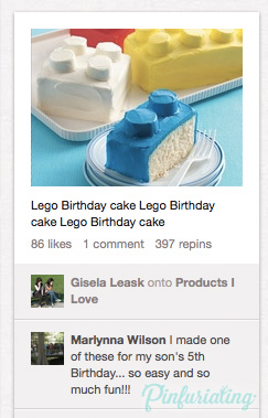 An image of a sheet cake with cupcakes on top in the shape of a lego piece, covered in lego coloured icing.