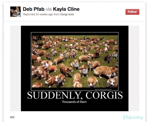 A photo of thousands of corgis, with the caption, suddenly, corgis, thousands of them. Demotivational style.
