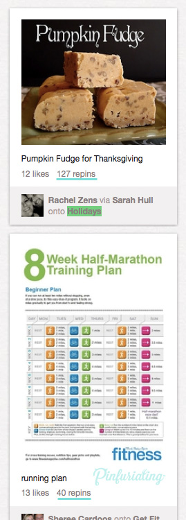 A screencap of Pinterest's popular page, with a pin of peanut butter fudge above a pin for marathon training.