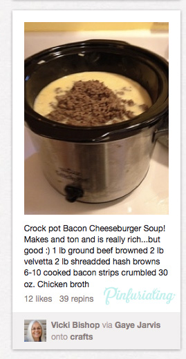 An image of a recipe for crock pot, featuring 1 poudn of ground beef, 2 pounds of velveeta, and 30 ounces of broth.