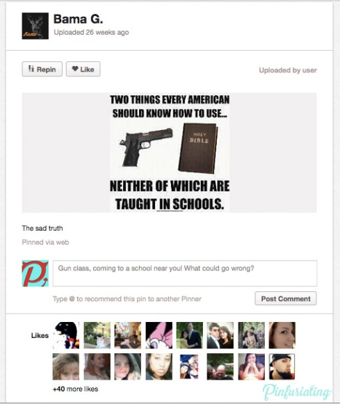 A screencap of an image of a gun and a bible, with the text: two things every American should know how to use, and they don't teach either in schools.