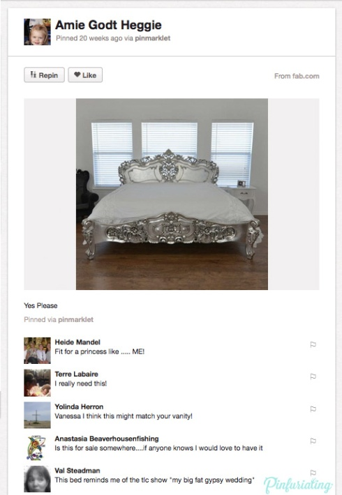 A screencap of a pin of an overly ornate bed, looking like something a 5 year old princess would want to sleep in.