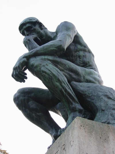 An image of Rodin's the thinker, looking as ponderous as ever.