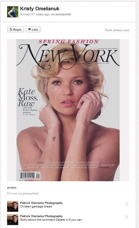 A screencap of a pin from pinterest, showing a kate moss cover of New York magazine. Comment reads chicken garbage bread.