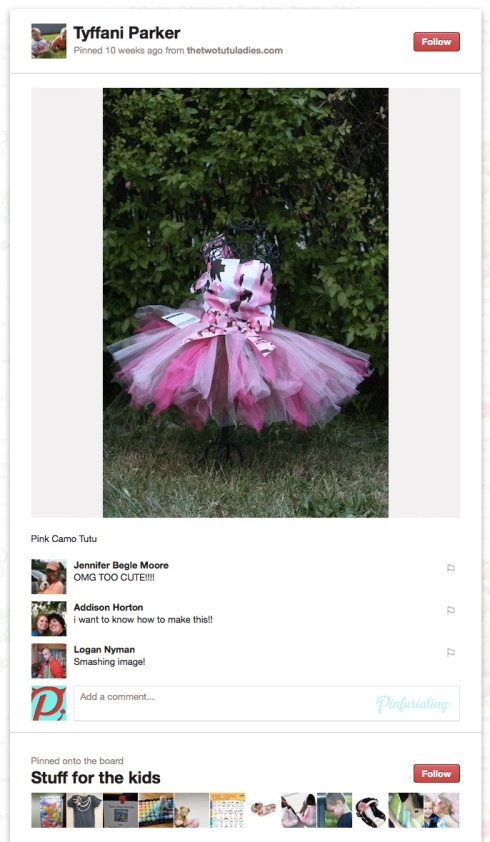 Screencap of a Pinterest pin of a pink camo and tutu dress.