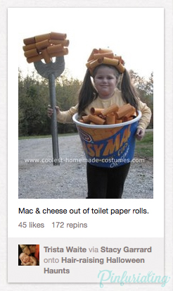 A screencap of a kid dressed up as craft dinner, with noodles made out of toilet paper rolls, for Halloween.