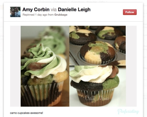 A pin of camo flavoured cupcakes, with camo icing and cake.