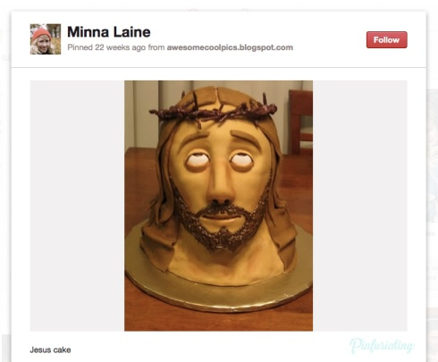 Fondant cake of Jesus' head, complete with a crown of fondant thorns.