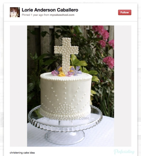 Screencap of a Pinterest pin of a feminine cake with a cross