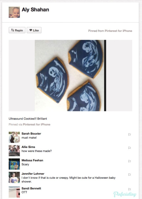A screencap of a pin of ultrasound cookies. Ultrasound shaped wiht a black background and white icing swirled overtop to look sort of like a fetus.