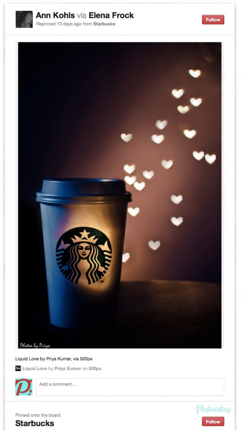 Screencap of a Pinterest pin of a photo of a starbuks cup lit up with little hearts.