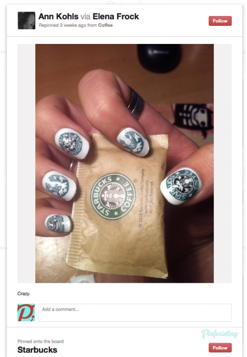 Screencap of a pinterest pin of nails painted with starbucks logos, clutching a starbucks bag of sugar.