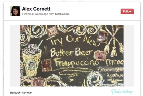 Screencap of a pinterest pin that's a snapshot of a starbucks menu offering butter beer frappucinos. how awesome.