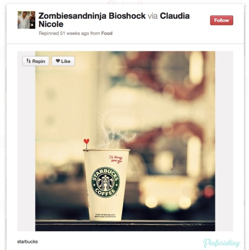 Screencap of a Pinterest pin of a photo of a starbucks cup with a heart sticking out of the lid.