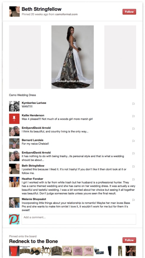 A screencap of a picture of a camo wedding dress, with resulting discussion.