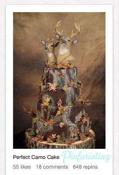 A camo decorated wedding cake, complete with deer and doe caketoppers.