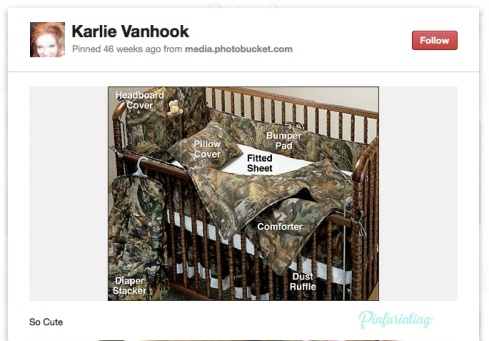 A screencap of a pin of a baby crib with camo sheets and pillow.