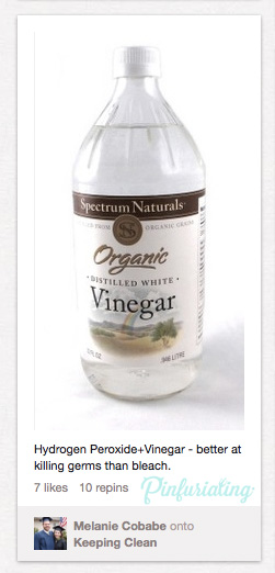 A screencap of a pin advertising vinegar and bleach mixing in a bottle. Bad idea.