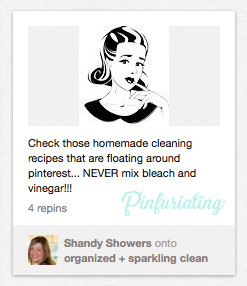 A screencap of a pin warning against mixing vinegar and bleach.