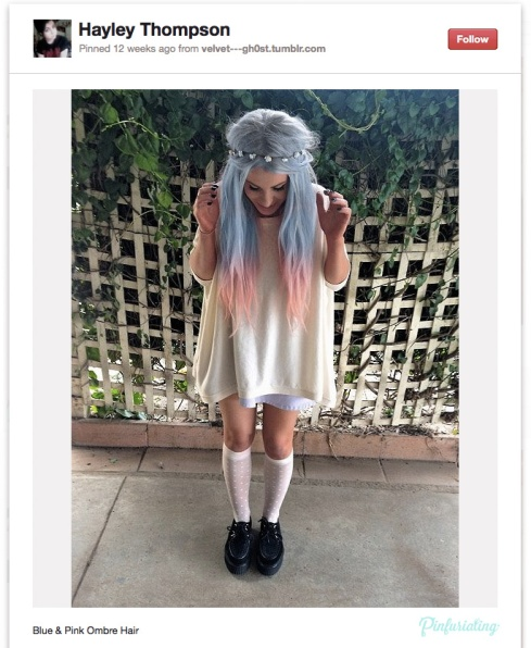 A pinterest screencap of a girl with bleached blue and pink hair.