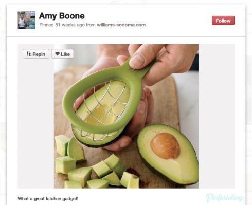 A screencap of a Pin from pinterest, showing an avocado cutter that looks like a small basket made with wire with a handle, which you press into the avocado to create cubes.