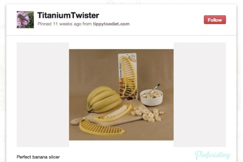 A screencap of a pin from pinterest with a photo of a bunch of bananas and a plastic, banana shaped banana cutter that one would simply press over a banana to create slices.
