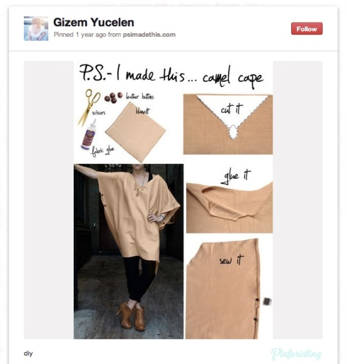 A screencap of a Pinterest pin with instructions and a photo of an ugly beige sheet with a neck and two arm holes. Instructions involve cutting and gluing.