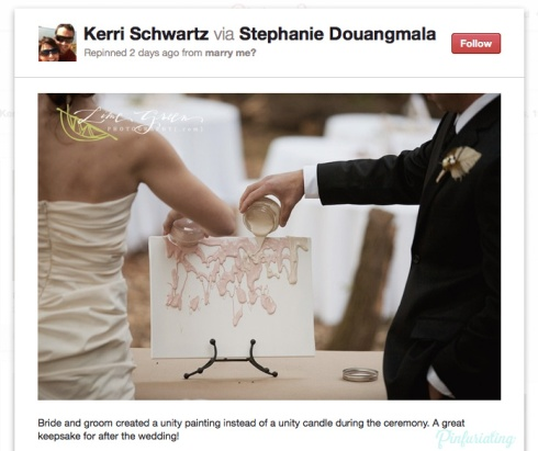 Screencap of a pinterest pin of a bride and a groom creating a gloopy unity with two jars of pastel paint.