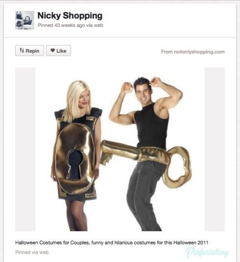 A halloween costume for a couple that's a lock and key.