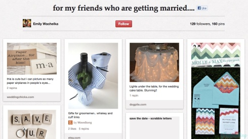 Screencap of a Pinterest board 'for my friends who are getting married'