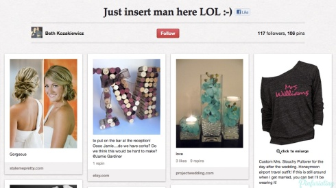 Screencap of a pinterest board entitled 'just insert man here lol'