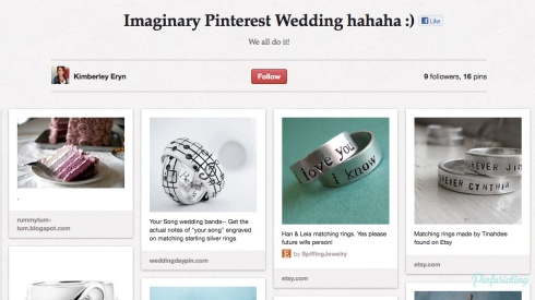 A screencap of a Pinterest board--imaginary pinterest wedding. sad.