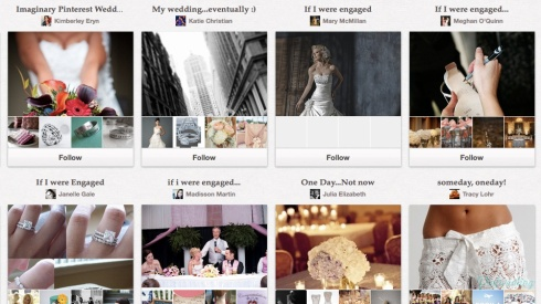 Screencap of a plethora of boards for imaginary weddings