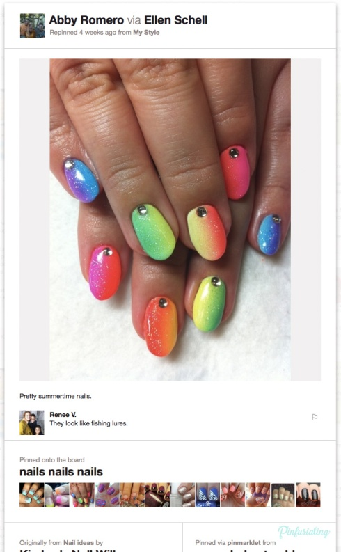 A screencap of a Pinterest pin of rainbow nails with a rhinestone at the base of each. Someone has commented saying that they look like fishing lures.