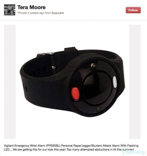 Screencap of a Pinterest pin of a wrist rape alarm.