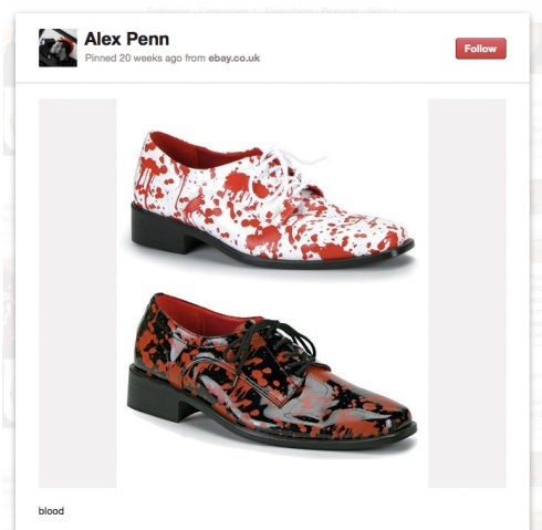 Screencap of a pin of shoes for men, splattered with red paint.