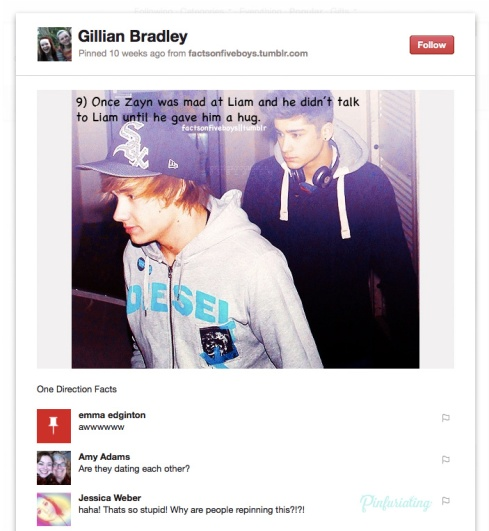 Screencap of a pinterest pin of a one direction fact.