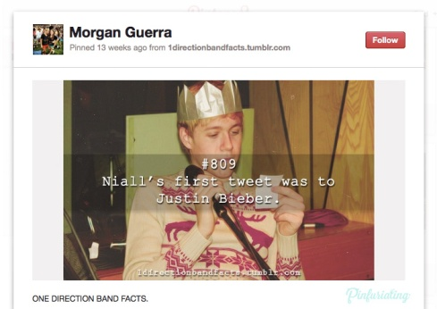 Screencap of a pinterest pin of a One Direction fact, stating that Neil's first tweet was to Justin Bieber.